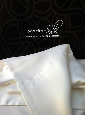 100% Pure Mulberry Silk Pillow Case - 19 Momme, Organic Ivory White