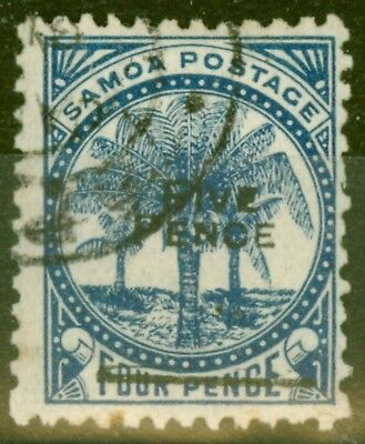 Samoa 1893 5d on 4d Blue SG65 (37) Fine Used.
