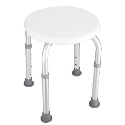 Round Bath Shower Stool Seat Adjustable Height Bathroom Portable Aluminium New