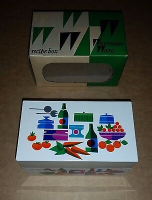 Worcester Ware Metal Recipe Box - VG in Box & Index Cards - 1970's Retro England