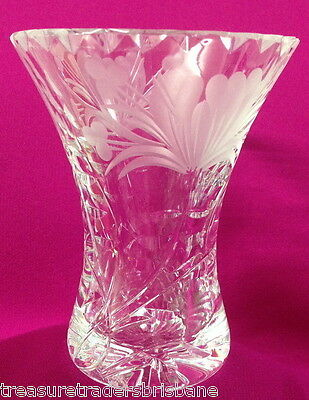 Gorgeous Flared Rim Small Cut Glass Frosted Flower Design Bud Flower Vase