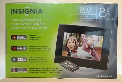 "Insignia 8"" Digital Electronic Picture Photo Frame 16:9 Format"
