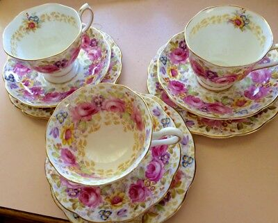 Antique Tea Set of 3 x cup, saucer and plate. Royal Albert Serena 839329