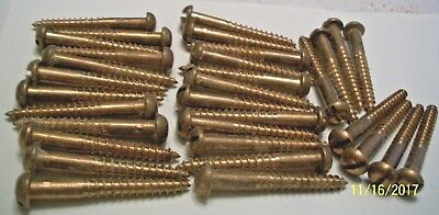 "32-BIG 2"" x 14 - VINTAGE SOLID BRONZE WOOD SCREWS WITH ROUND, REG. SLOT HEAD'S,"