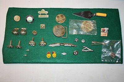 Vintage Masonic, Shriners, lapel pins, tie clasps, cuff links, buckle,trowel lot