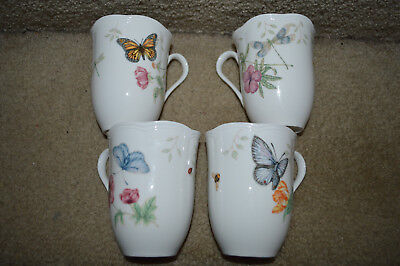 """(4) LENOX  """"Butterfly Meadow"""" 4 1/4"""" MUGS ALL DIFFERENT MINT NEW"""