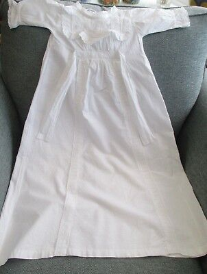 Beautiful Vintage Baby Christening Gown. White Cotton And Lace. 33 In Long