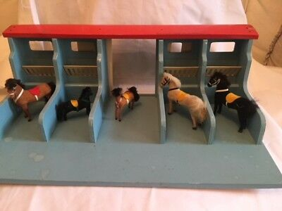 Rare Vintage M Miniature Horses Flocked Toy West Germany Barn Corral