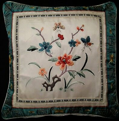 """Floral Embroidered Pillow Silk Butterfly Vtg Asian Multi Color Top Cover 13"""" Sq"""