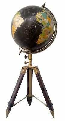 "Vintage antique style world map globe 12"" nautical with adjustable tripod stand"