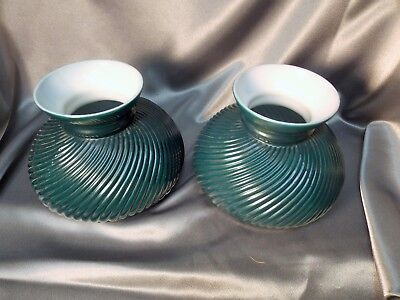 """Antique Ribbed Swirl Milk Glass Emerald Green Student Lamp Shade Matched Pair 7"""""""