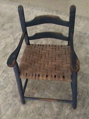 Antique Child / Doll Chair Wood Woven Splint Seat Folk Art Primitive Shabby Chic