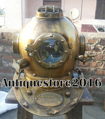 Antique Marine Collectible Nautical Brass Us Navy Divers Diving Helmet Gift Item