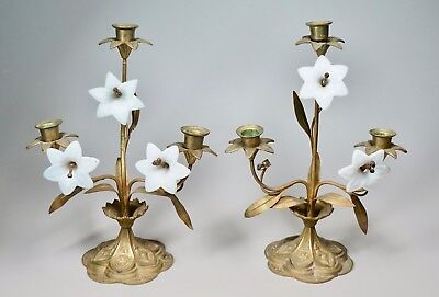 "2 Antique Vermeil Bronze Candle Holders Opalescent Glass Lily Flowers 13"" High"