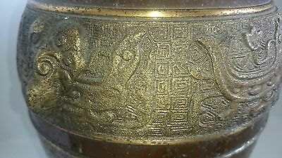 Big Heavy Old Antique Look Cast Bronze on Brass Mixed Metal Chinese/Japanese Urn