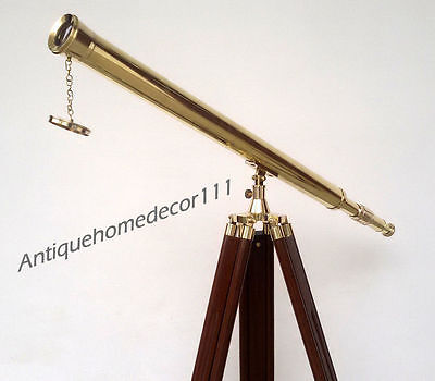 Nautical Marine Navy Brass Telescope With Wooden Tripod Stand Decorative Gift