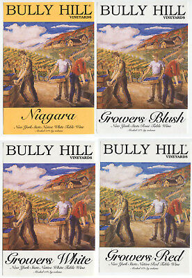 4 different, VERY NICE unused wine labels Bully Hill, N.Y., USA (1)