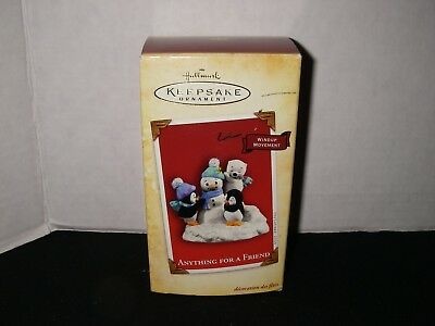 Hallmark ~ Anything For A Friend - Penguins Wind-Up Movement~ Keepsake Ornament