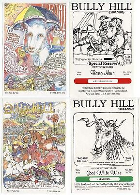4 different, VERY NICE unused wine labels Bully Hill, N.Y., USA (2)