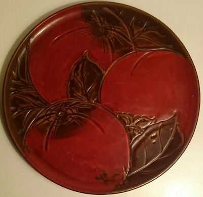 "Red Green and Black Lacquered Carved Wood Chinese Persimmon 11.5"" Large Tray"