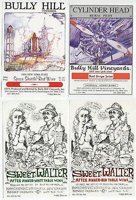 4 different, VERY NICE unused wine labels Bully Hill, N.Y., USA (3)