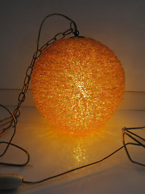 Vintage Mid Century Orange Spaghetti Lucite Hanging Swag Lamp Light