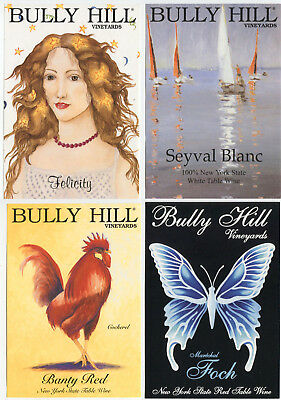 4 different, VERY NICE unused wine labels Bully Hill, N.Y., USA (7)