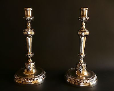 """Fine French Louis XV 1760 Antique Classical Candlesticks Silvered Bronze 11"""""""