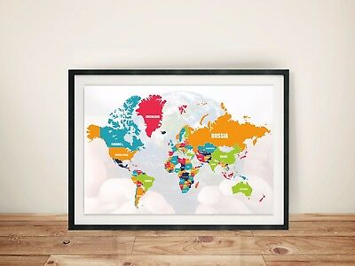 LARGE World Map Poster WALL CHART With countries New Modern up to date Version