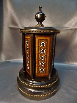 Rare Victorian Antique Inlaid MOP Ebony Wood  Cigar Box Caddy Carousel 1800's