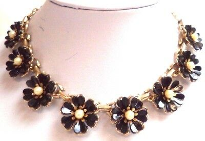 """Stunning Vintage Estate Faux Pearl Black Celluloid Flowers 15"""" Necklace!! 6984Y"""