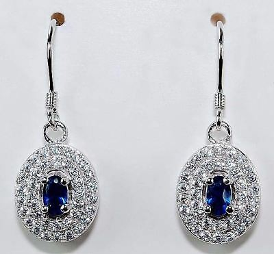 2CT Blue Sapphire & White Topaz 925 Solid Sterling Silver Earrings Jewelry, T6-3