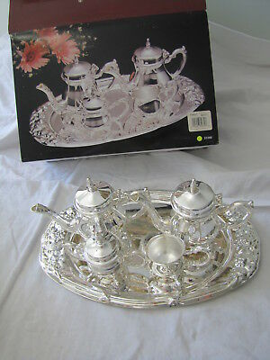Vintage Elegance Silverplated 5 piece Mini Coffee / Tea Set on Tray