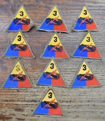 WWII US Army 3RD Third Armored Division Lot of Ten Military Patches