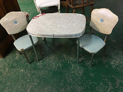 Child's Antique Formica Top Table & Chairs Chrome Legs Retro 50's Style Vintage