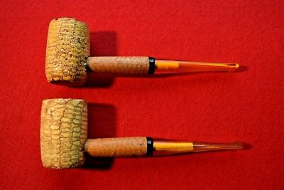 Lot of 2 Vintage Missouri Meerschaum Legend Corn Cob Pipes Straight New Bit