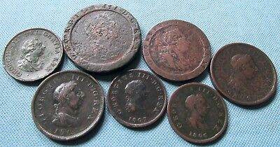 Lot of 7 Great Britain King George III Old Copper Coins 1797 Cartwheels - 1807