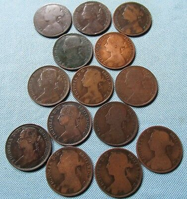 Lot 14 1800s Queen Victoria Great Britain Bronze One Penny Old Coins 1872-1893