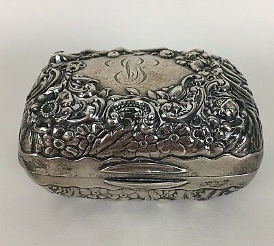 Vintage Gorham Sterling Silver Repousse Keepsake Pin Box/soap Dish