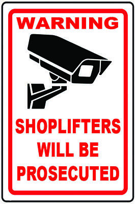 2  Shoplifters will be Prosecuted Sticker Signs - Static Cling or Self Adhesive