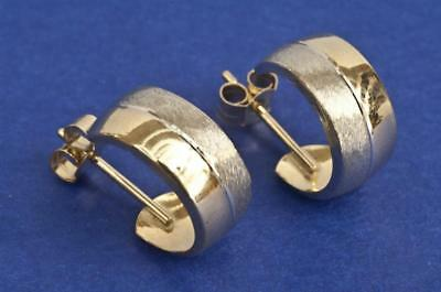 A PAIR OF SOLID 9ct YELLOW AND WHITE GOLD HUGGIE EARRINGS, SIZE 10mm