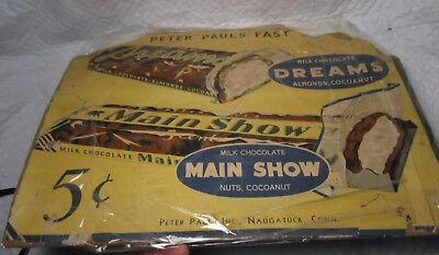 Vintage Peter Paul MAIN SHOW & AREAMS Display Candy SIGN 5 cent DREAMS Adv retro