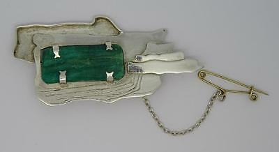 Large Vintage Contemporary Silver Natural Emerald Crystal Rough Brooch