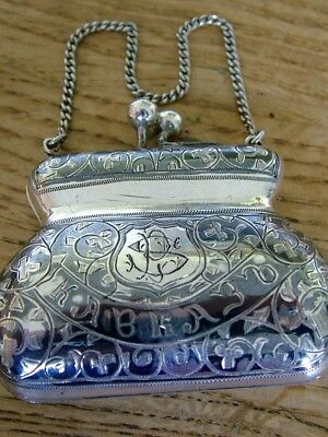 Antique Russian Silver Niello Ladies Coin Purse Chatelaine Cyrillic Text No Res
