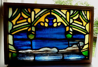 Antique Vtg Church Stained Glass Window Architectural Salvage Gothic Arch W460