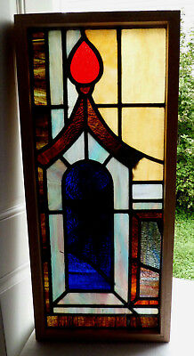 Antique Vtg Church Stained Glass Window Architectural Salvage Pagoda W83