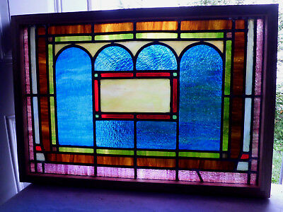 Antique Vtg Church Stained Glass Window Architectural Salvage Four Arches W32