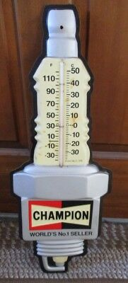 Vintage CHAMPION SPARK PLUGS Die Cut THERMOMETER SIGN....COOL!