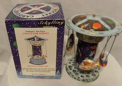 "Schylling Rocket Carousel ""Antique"" Tin Toys Collector Series in Original Box"