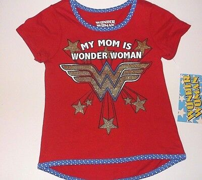"""New Wonder Woman toddler girls shirt size 2T 3T 4T 5T  """"My Mom is Wonder Woman"""""""